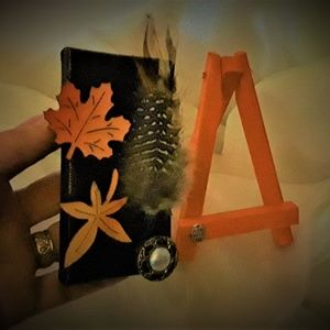 "BeaslePunk Art Original Accents - Fall Feathers - 2""x3""mini canvas 3D art mini easel"